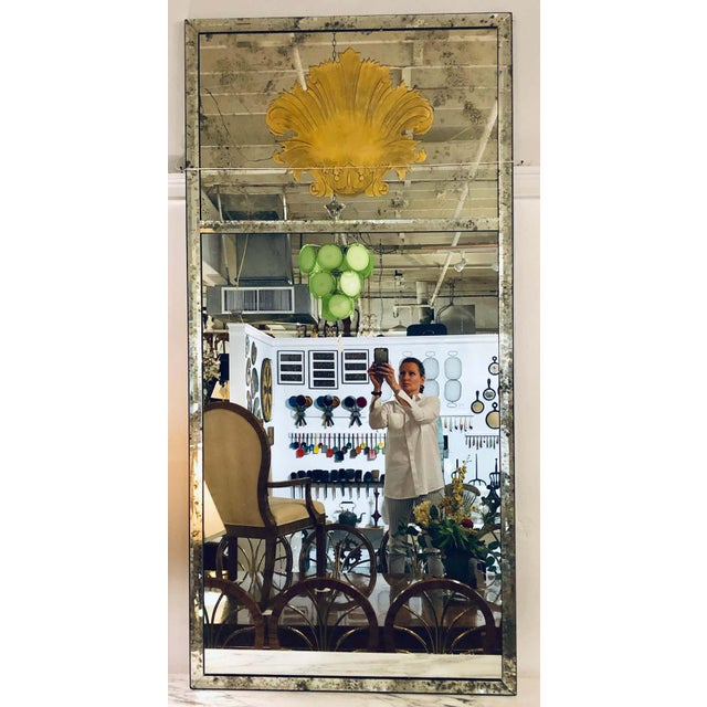Late 20th Century Hollywood Regency Eglomise Wall, Console Pier Mirrors Manner Maison Jansen Pair For Sale - Image 5 of 12