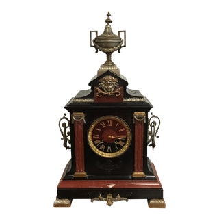 Monumental French Napoleon III Antique Clock Marble Circa 1890s
