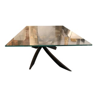 Artistico Rectangle Glass Coffee Table With Natural Silver Base by Bontempi For Sale