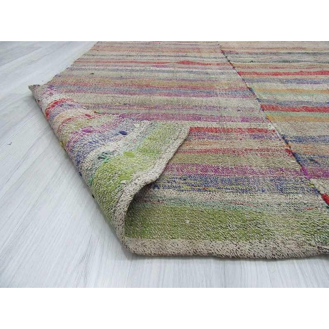 Colorful Striped Turkish Rag Rug - 5′2″ × 7′4″ For Sale In Los Angeles - Image 6 of 6
