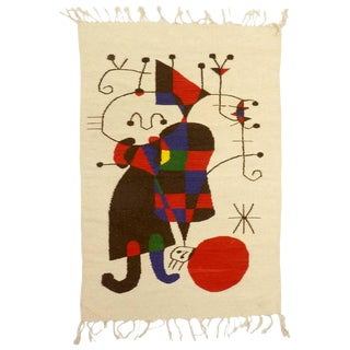 Large Wool Wall Hanging in the Style of Joan Miro For Sale