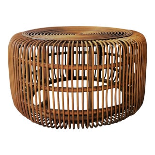 1970s Boho Chic Rattan Coffee Table For Sale