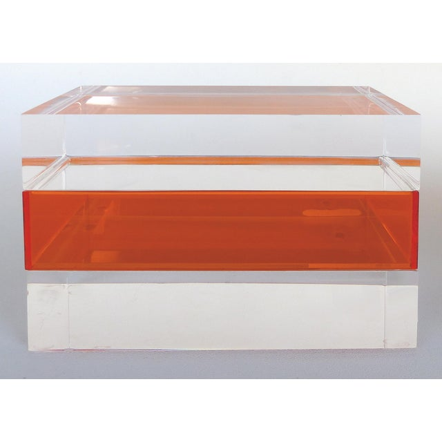 Mid-Century Modern Custom Clear and Orange Lucite Trinket or Jewelry Box For Sale - Image 3 of 6