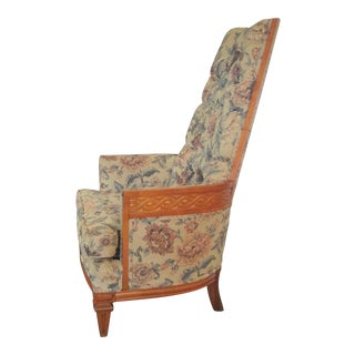 Vintage Wood Accented Tufted High Back Armchair For Sale