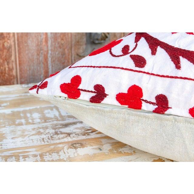 Textile Rakti Royal Red Suzani Pillow For Sale - Image 7 of 10