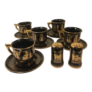 Neofitou Demitasse Cup & Saucer 24k Gold Trim X5 With Matching Sugar / Salt and Pepper Shakers - 13 Pieces For Sale