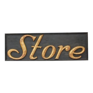 "Early 20th C. Antique Gilded Cast Iron ""Store"" Sign For Sale"