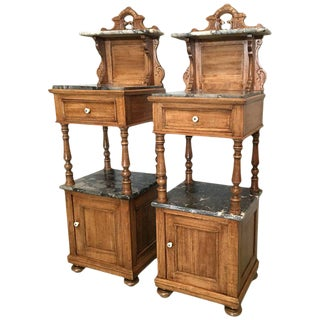 Antique, Tall and High Top Solid Oak Bedside Cabinets With Marble Top and Drawer - a Pair