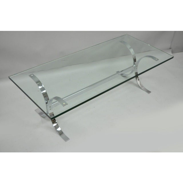 Mid-Century Modern Chrome Butterfly Base Glass Top Coffee Table Baughman Style For Sale - Image 11 of 12