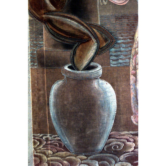 Art Deco American Art Deco Vertical Painted Velvet Wall Hanging For Sale - Image 3 of 4