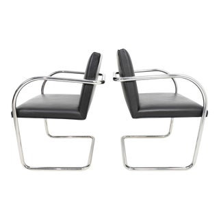Tubular Brno Chair in Black Leather by Knoll - A Pair For Sale