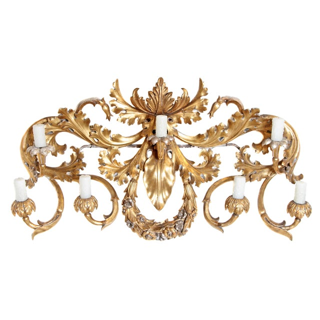Oversized Italian Baroque-Style 7-Arm Gilt and Silvered Wood Wall Sconce For Sale - Image 13 of 13