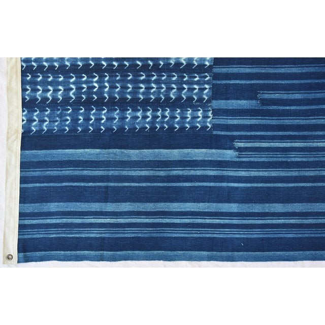 """58"""" X 34"""" Custom Tailored Blue & White Flag From African Textiles - Image 7 of 8"""