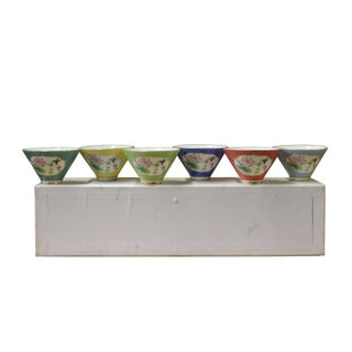 Chinese Multi-Color Flowers Porcelain Handmade Tea Cup 6 Pieces Set Preview