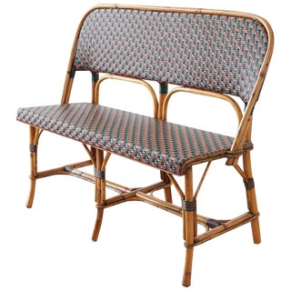 French Maison Gatti Rattan Bamboo Banquette Settee For Sale
