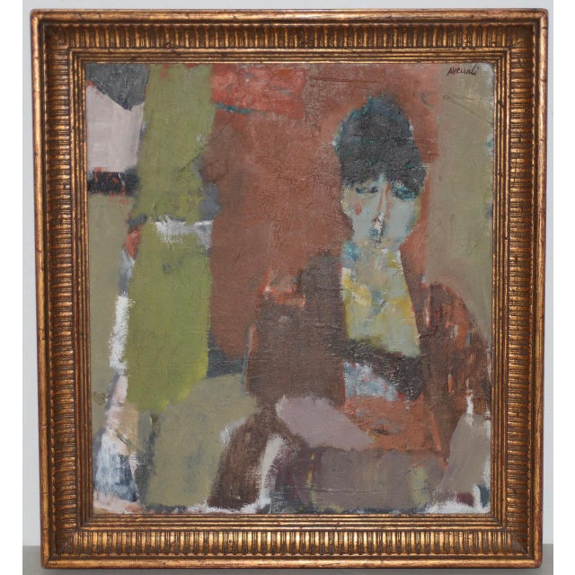 Gray Marcello Avenali (Italy, 1912-1981) Portrait of Young Woman Oil Painting C.1950s For Sale - Image 8 of 8