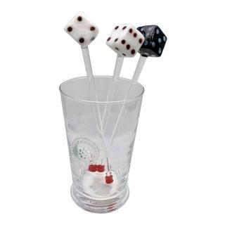 Vintage Glass Dice Drink Stirrers For Sale