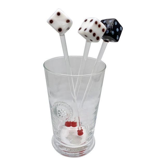 Vintage Glass Dice Drink Stirrers For Sale