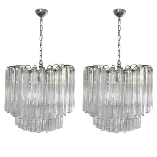 Venini Triedri Chandelier - A Pair For Sale
