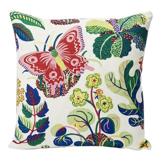 Schumacher Pillow in Exotic Butterfly Spring Print For Sale