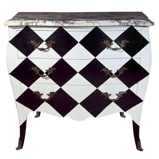 French Louis XV Painted Marble Top Commode For Sale - Image 10 of 10