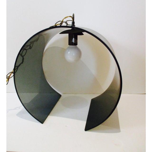 Mcm Atomic Retro Smoked Lucite Acrylic Hanging Swag Light