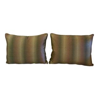 Jim Thompson Muted Striped Silk Pillows - A Pair