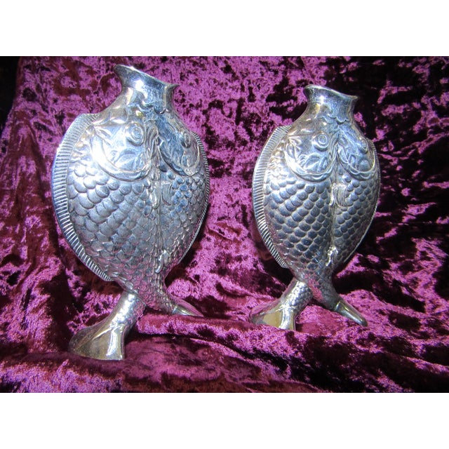 Christofle Two Fishes Vases Pair Chairish