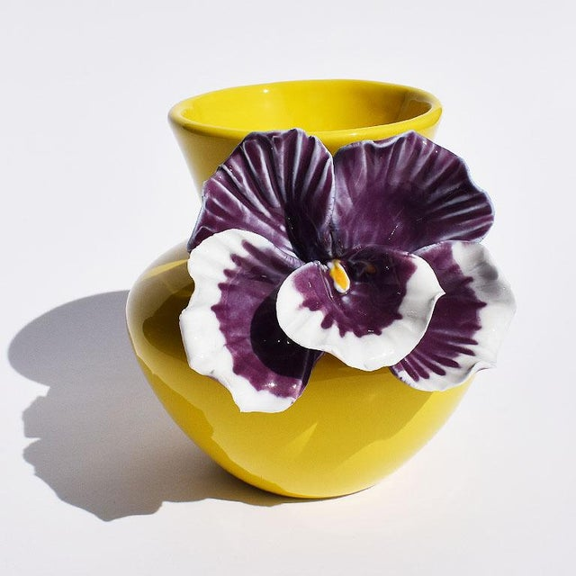 Yellow and Purple Abstract Ceramic Vase with Affixed Floral Orchid For Sale - Image 6 of 7