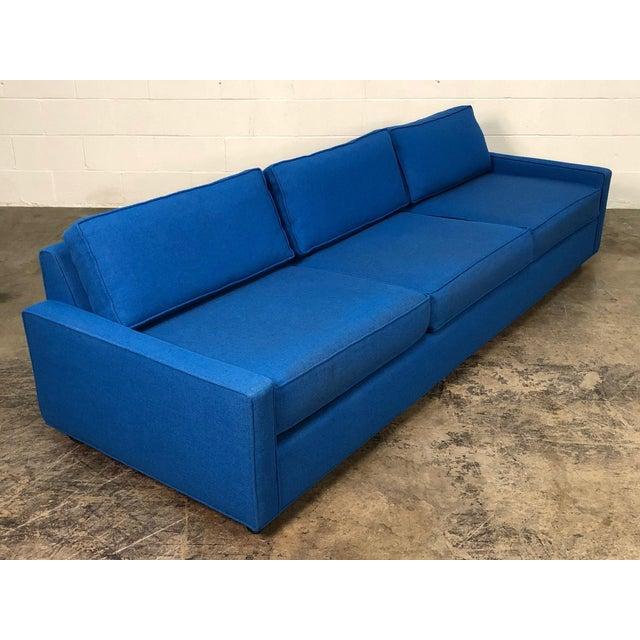 """Royal Blue Mid-Century Modern Sofa ~ 103"""" Long For Sale - Image 11 of 11"""