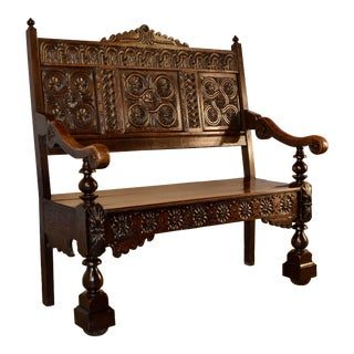 Charles II English Oak Bench, Circa 1620-1650 For Sale
