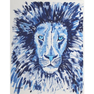 Lion in Blue Portrait by Cleo Plowden For Sale