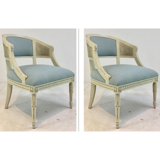 Blue Hickory Chair Transitional Le Clerc Ivory Cane Chairs Pair For Sale - Image 8 of 8