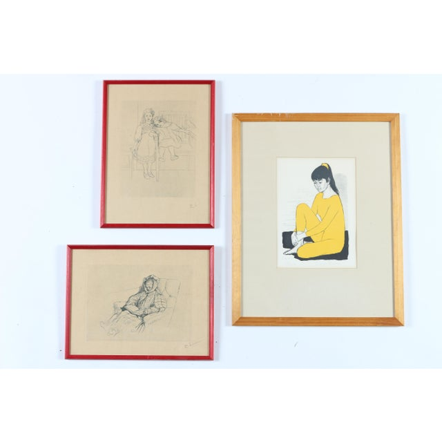 Instant gallery wall, a set of three artworks; two engravings and one lithograph. Overall dimensions represent the layout...