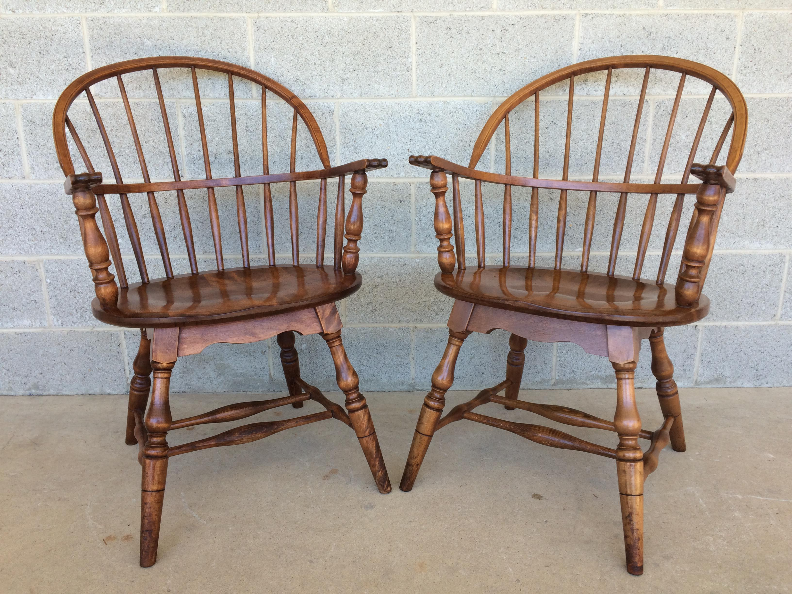 S. Bent Brothers Pair Of Hoop Back Windsor Arm Chairs Made Of Solid Walnut.