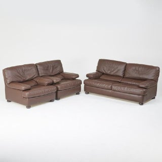 Roche Bobois Leather Sofa and Pair of Lounge Chairs, France, Circa 1980 Preview