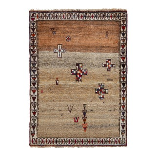 Hand-Knotted Mid-Century Vintage Gabbeh Rug - Beige Brown Persian Rug Design For Sale