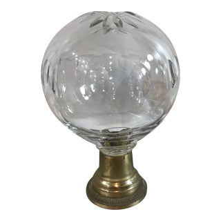 Vintage Cut Glass Sphere on Brass Base For Sale