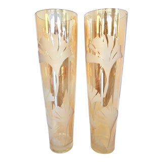 Vintage XL Tall Etched Vases For Sale