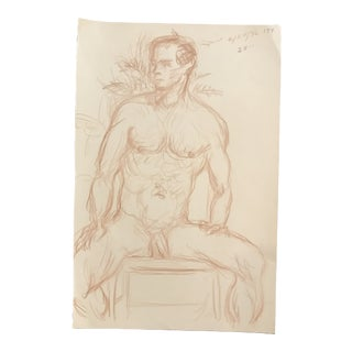 1990s James Bone, Posing Studio Male Nude Drawing For Sale