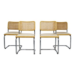 Vintage Mid-Century Modern Breuer Chrome Cane Side Chairs Italy - Set of 4 For Sale