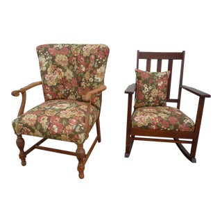 Antique Brown Floral Tufted Armchair & Petite Oak Rocking Chair - A Pair For Sale