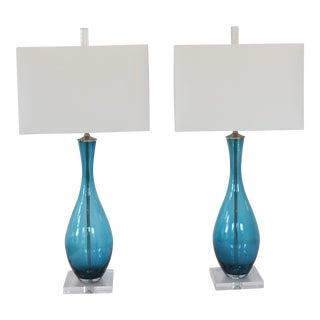 Custom Made Jewel Tone Glass Lamps by C. Damien Fox 2018