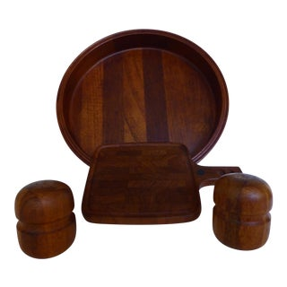 Vintage Ihq Teak Parquet Dansk Trays & Shakers - Set of 4