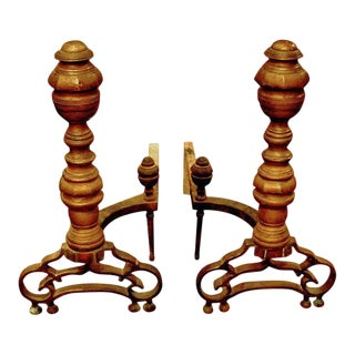 Pair of English Bronze and Iron Andirons, Old Mellow Patina