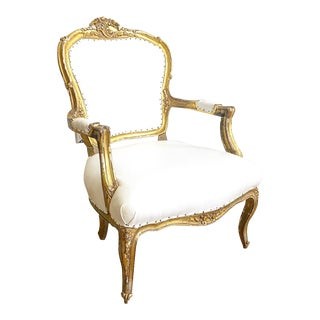 French Louis XVI Antique Carved Arm Chair For Sale