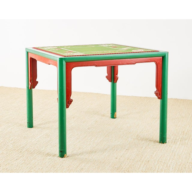 Baker Trompe l'Oeil Card Table With Rattan Armchairs For Sale - Image 9 of 13