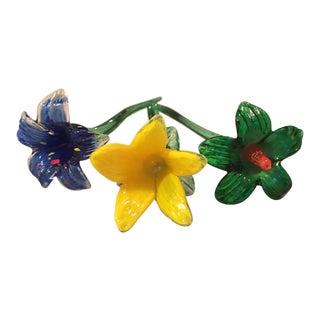 Art Glass Flowers - Set of 3