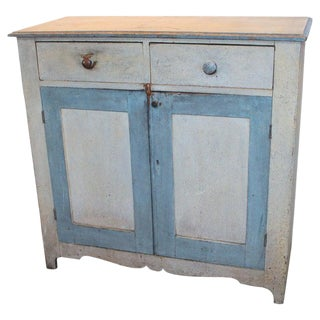 19th Century Original Painted Blue & White Jelly Cupboard For Sale