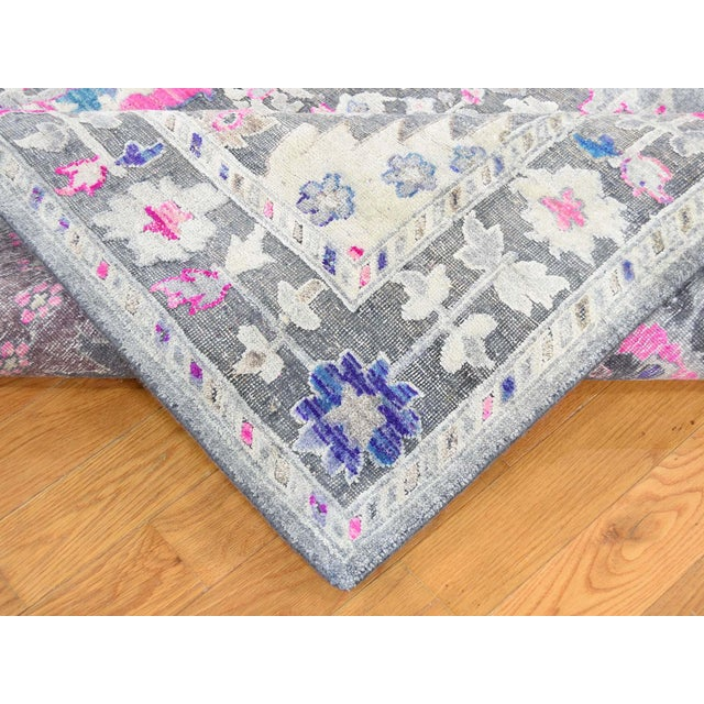 Silk Sari Silk With Oxidized Wool Hand Knotted Oushak Runner- 8′1″ × 10′2″ For Sale - Image 7 of 13